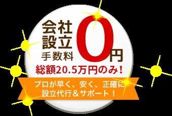 会社設立手数料0円 プロが早く、安く、正確に設立代行&サポート!